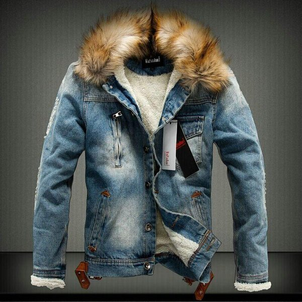 2018 Men Winter Jacket Warm Heavy Hair Collar Denim Jacket Mens Jeans Jacket Thick Warm Outwear Cotton Coats Male Cowboy Clothes