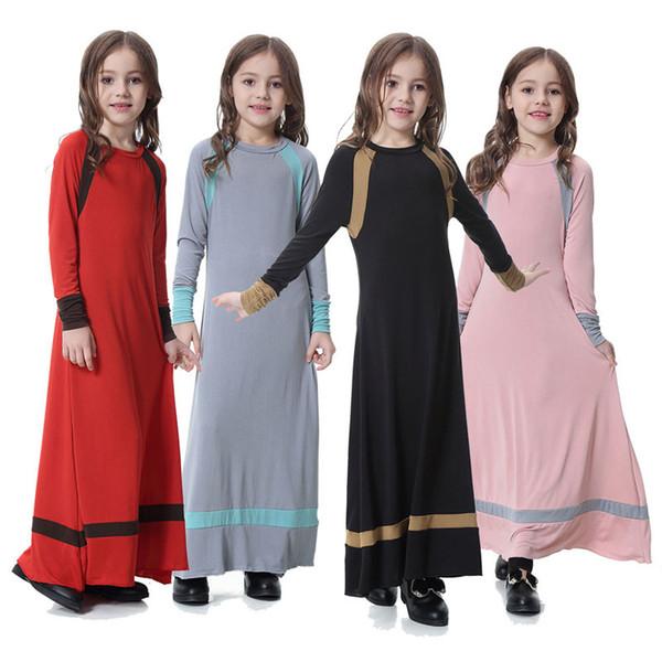 Vestido tradicional musulmán para niñas 4 colores Dubai Malasia Manga larga Ramadan Abaya Solid Kaftans Belt Niños Diseñador Vestido Party Outfit 3-9T 04