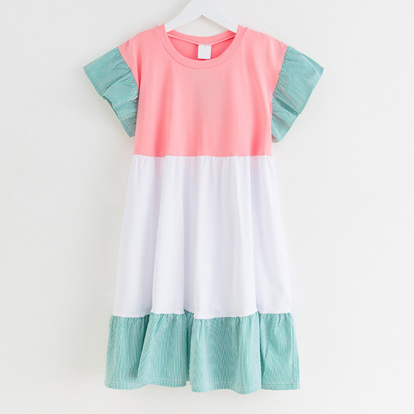 Kids & Teenager Girls Summer Color-block Flare Sleeve Cotton Casual Princess Dresses Children 6 To 16 Years Fashion Ruffle Dress Y190516