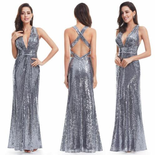 Ever-Pretty Long Grey Sequins Evening Dresses Cross Back Homecoming Dress