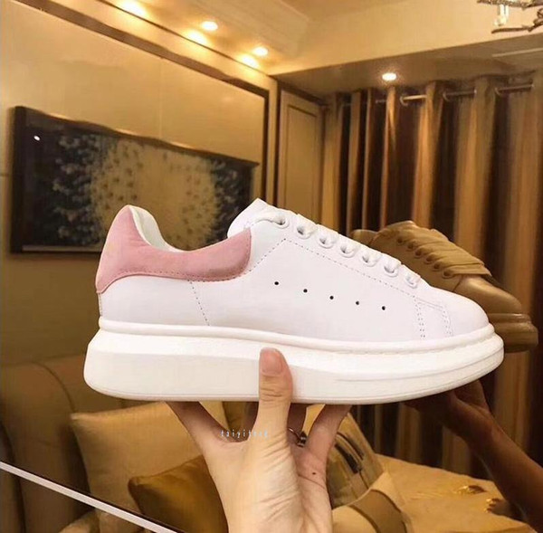 Top Quality designer shoes Genuine Leather SneakerS Luxury Mens Women Fashion White Leather Platform Shoes Flat Casual Shoes