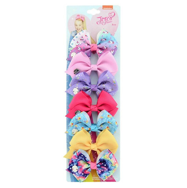 beautiful children's hair accessories The New children's bow hairpin Jojo Barrettes 7 color set baby headdress