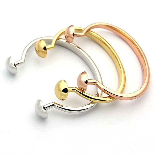 hot brand 316L stainless steel jewelry two round ball bracelet can be change cuff open nail bangle famous brand jewelry
