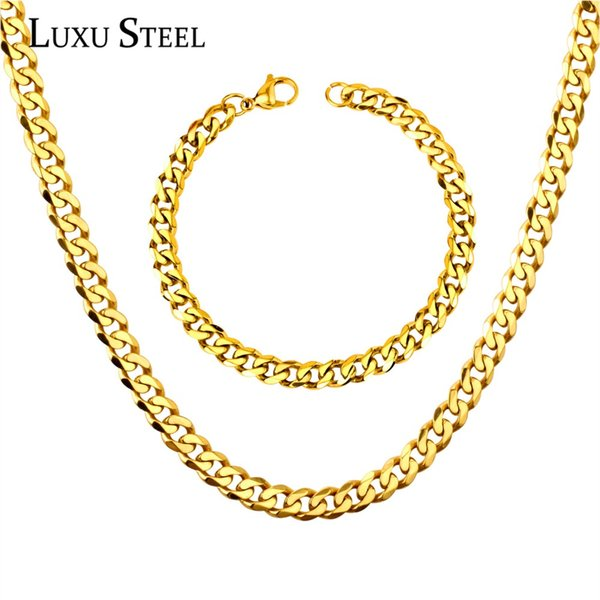 LUXUSTEEL Cuban Link Chain Necklace Bracelets Width 7mm Stainless Steel 20inch/22inch/24inch Gold/Silver Chains Jewelry Sets