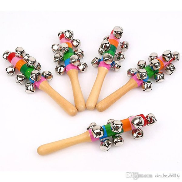100 pcs / lot Hot Sale Cartoon Baby Rattle Rainbow Rattles With Bell Wooden Toys Orff Instruments Educational Toy Wholesale