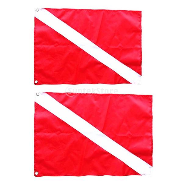 2 Pcs Grande Pequeno Mergulho Mergulhador Para Baixo Bandeira Sinal de Segurança Marcador Bandeira Caiaque Barco Bandeira Aviso ferramenta