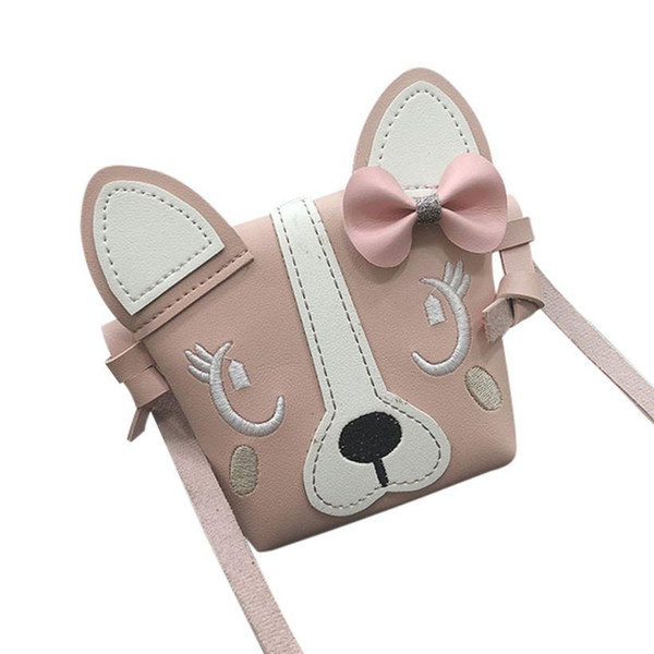Cheap Children's cute bow leather dog leather shoulder bag Messenger bag girl solid color mini square bag clutch #F