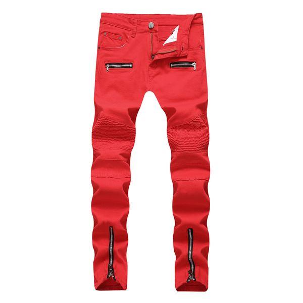 Yeni Skinny Biker Jeans Erkekler Motosiklet Streç Kargo Denim Jeans Fermuarlar ile Pileli İnce Jean Erkekler Artı Boyutu 40 42 Pantolon