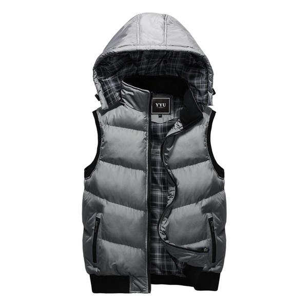 New Winter Hooded Vest Men Hat Detachable Warm Sleeveless Jackets Mens High Quality Casual Male Vest Coat Homme Plus Size M-5XL
