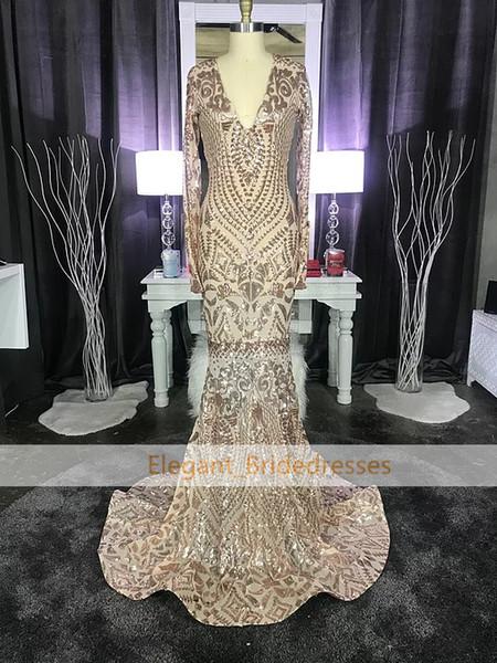 New Designer V Neck Mermaid Prom Dresses Rose gold Sequins Long Sleeve Formal Evening Dresses Party Prom Gowns Graduation Dress African