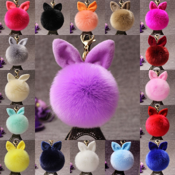 Free DHL Fluffy Bunny Toys Ear Keychain 18 Styles Rabbit Key Chain Fur Woman Bag Charms Keyring Pompom Car Pendant Key Rings D316Q Y