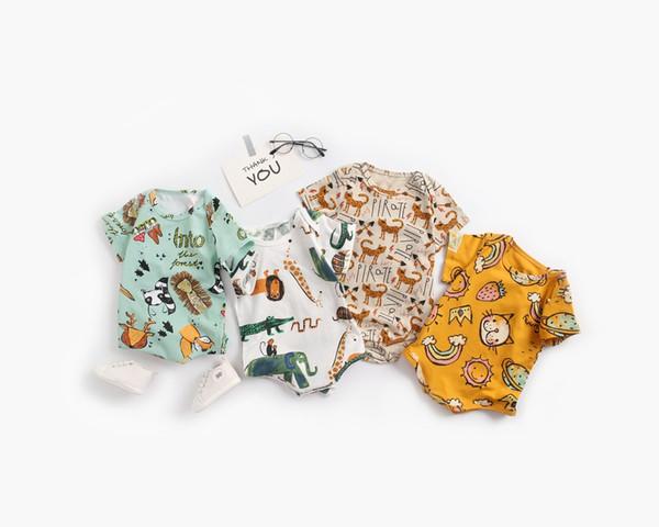 INS Babyspielanzug Kleinkind Kinder Regenbogen Katze Löwe Rentier gedruckt Kurzarm Overall Säugling Mädchen Dreieck Windel Baby-Kleidung F8746