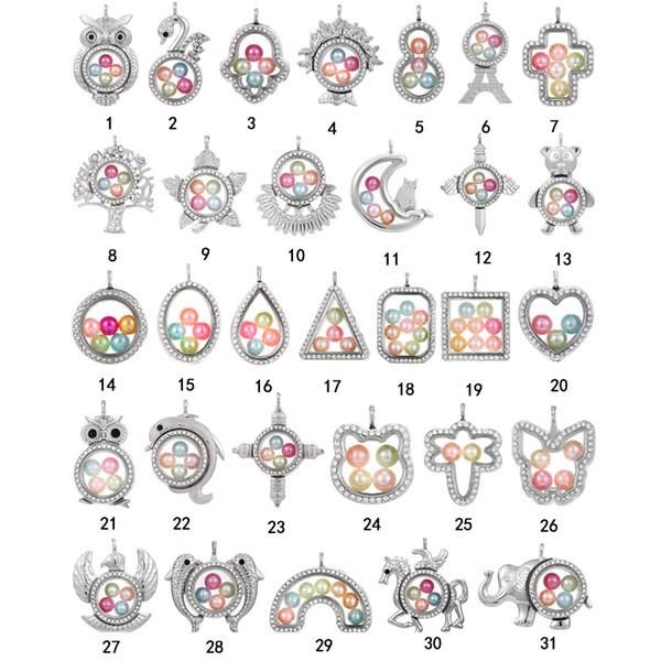 Mode Grande Perle Cage Médaillon Pendentif collier Pour les femmes Éléphant Croix Hibou Arbre Vivant Mémoire Perles Verre Magnétique Flottant Charme bijoux