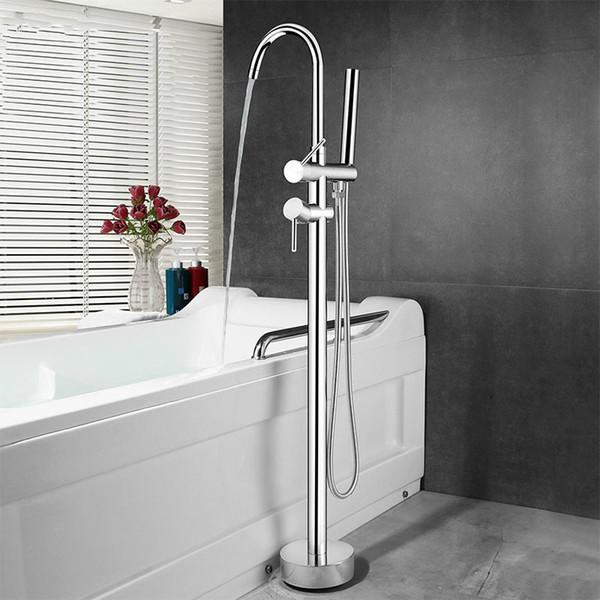 Rubinetto da pavimento per vasca da bagno Rubinetto per vasca da bagno in ottone cromato Doppio manico Miscelatore per vasca da bagno con doccetta