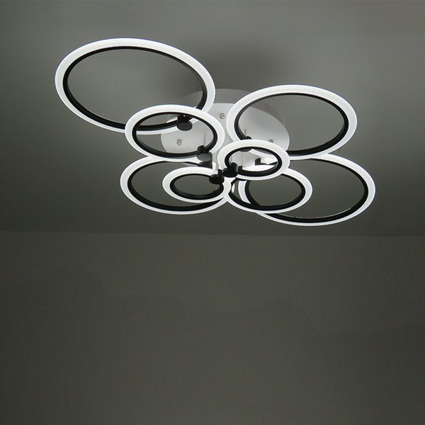 Schwarze Ringe Moderne LED Kronleuchter Lichter Wohnzimmer Esszimmer Schlafzimmer Dekoration Kreise Acryl Beleuchtung Lampara De Techo
