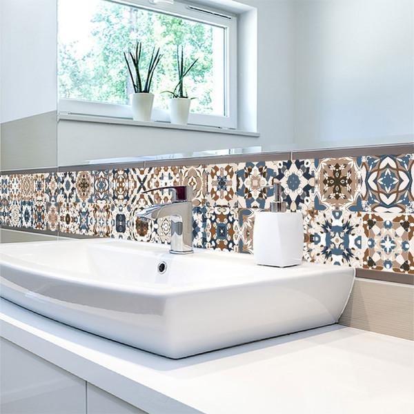 20*100cm*1pcs 3D Pattern Tiles Floor Sticker Kitchen Bathroom Waist Line Wall Stickers Home Decor Self-adhesive Art Mural Poster