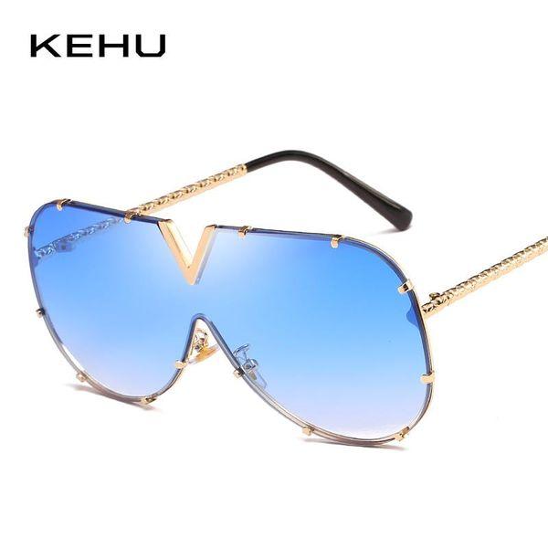 KEHU Lady Siamese Солнцезащитные Очки Многоцветный Градиент Очки Высококачественные Сплав Солнцезащитные Очки с Большой Рамкой Марка Дизайн UV400 K9511