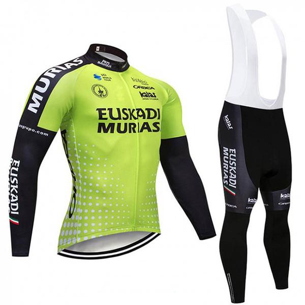 Euskadi ekibi Açık spor Erkek Bisiklet Bisiklet Jersey Bisiklet Giyim uzun Kollu tops ve 3D Jel ped önlük pantolon setleri Q8087