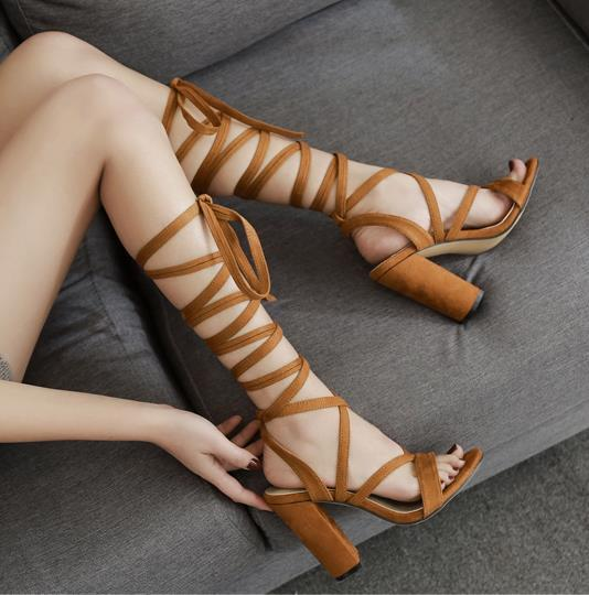 Fashion brown ankle wrap strappy thick high heels sandal female ladies slides fashion luxury designer women shoes size 34 To 40