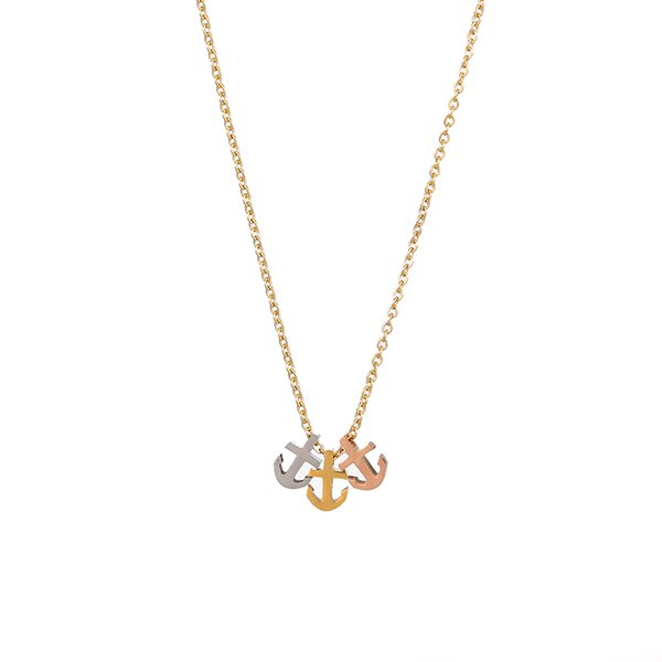 3pcs Anchor Stainless Steel Pendant Necklaces Minimalist Gold Link Chain Navy Necklaces For Female Women Choker Colar