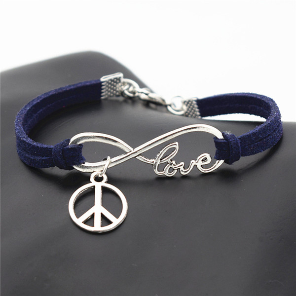 Ethic Knitted Dark Navy Leather Suede Bracelet Bangles for Women Men Infinity Love Peace Symbol Round Adjustable Weave Jewelry Gift 2019 New