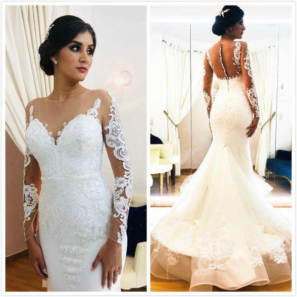 2020 Arabic Aso Ebi Lace Mermaid Sexy Wedding Dresses Sheer Neck Long Sleeves Bridal Dresses Cheap Vintage Wedding Gowns ZJ225