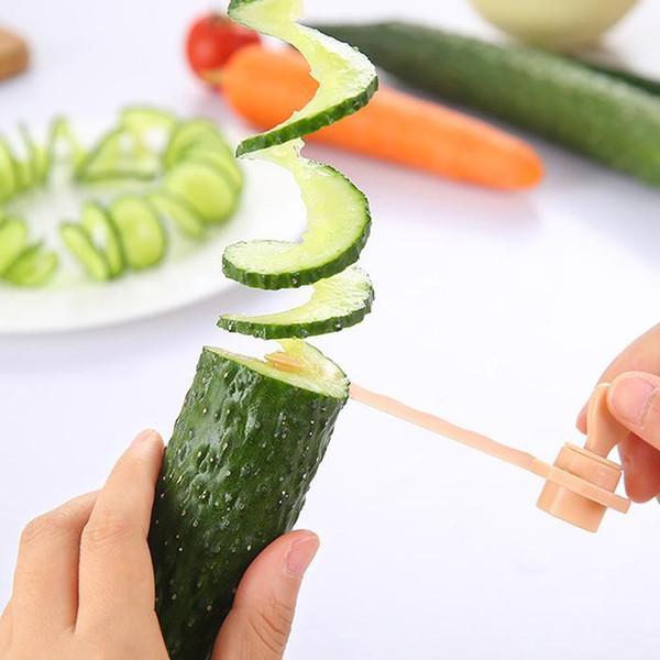 Sıcak satış Manuel Spiral Vida Dilimleyici Plastik PP Patates Havuç Salatalık Sebze Spiral Bıçak Mutfak Aletleri toptan