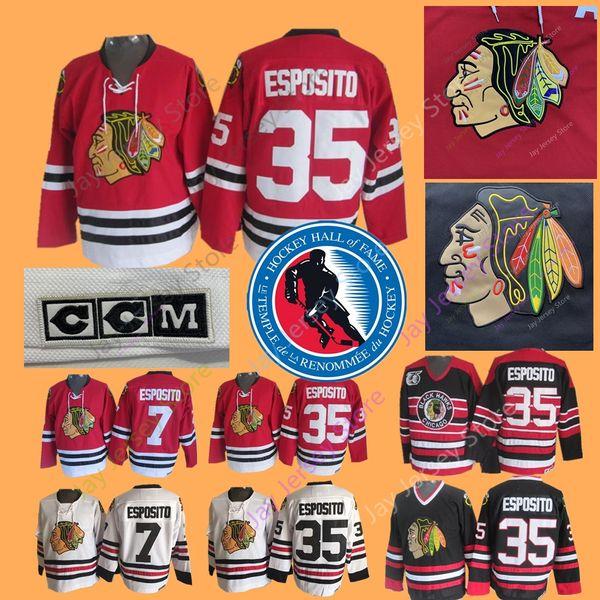 Tony Esposito Jersey 1988 Hall Of Fame-Patch 7 35 Eishockey Chicago Blackhawks-Trikots CCM Vintage White Navy Home Away
