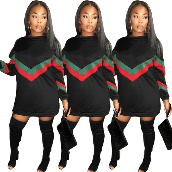 top popular Womens Coat Hoodie Designer Tops Europe The United States Nightclub Clothes Air Layer Stitching Stripe Zipper Long Section Sweater Dress 2020