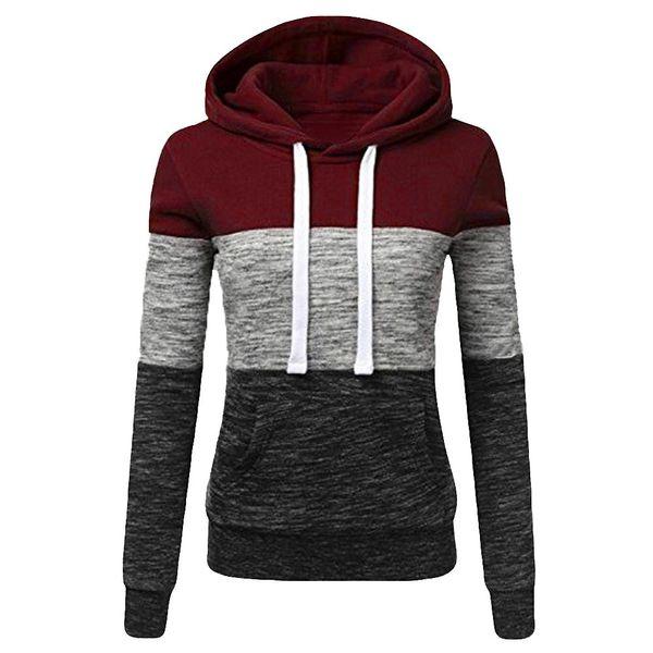 Feitong moda para mujer casual sudaderas con capucha sudadera otoño invierno para mujer remiendo de manga larga con capucha Pullover sudadera mujer 2018