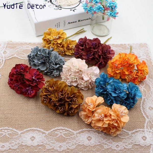 2019 Hot Sale 6pcs/lot pure ribbon core chrysanthemum wedding decoration bridal decorative artificial flowers DIY scrapbooking accessories