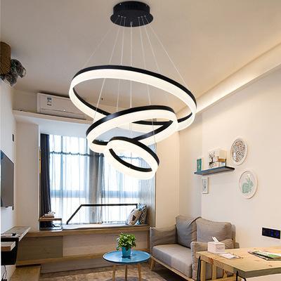 Anillos de JESS Moderno Luces colgantes Fixture salón restaurante decorar suspensión círculo Hanglamp Control remoto luminaria