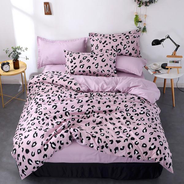 Duplo Tamanho Bedding Set Queen Size violeta da cópia do leopardo da capa do edredon Folha de cama fronha Bed único abrange conjuntos de Rei