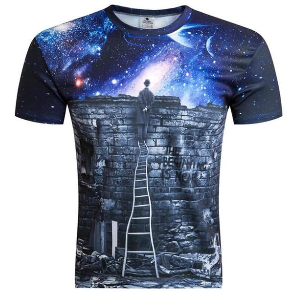 T-shirt décontracté pour hommes, impression numérique, impression de ciel étoilé en dessin animé 3D