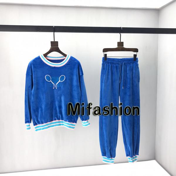 2019 Sonbahar Kış Moda İtalya Erkekler Lüks Mavi Velure Tenis Raketleri Nakış Kazak Kadın Hoodies Ceket Pantolon Pantolon Eşofman