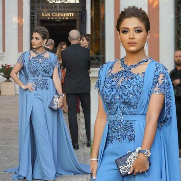 Nouveau design Jumpsuits prom robes avec Wrap 2020 Arabie arabe perlée Applique Robes de soirée longue Zuhair Murad Party Costume Pant