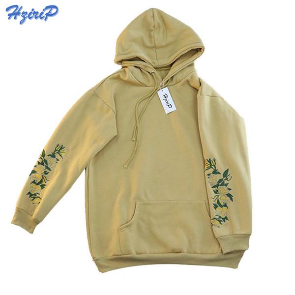 Hzirip 2018 New Arrival Hooeded Sweatshirt Women Elegant Floral Embroidery Long Sleeve Pullover High Quality Christmas Hoodies Y190814