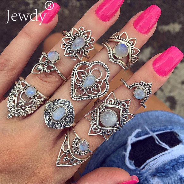 Mix Opal Stone Geometry Flower Rings Set For Women Boho Jewelry Unique Crystal Carving Knuckle Midi Ring Wedding Party 2019