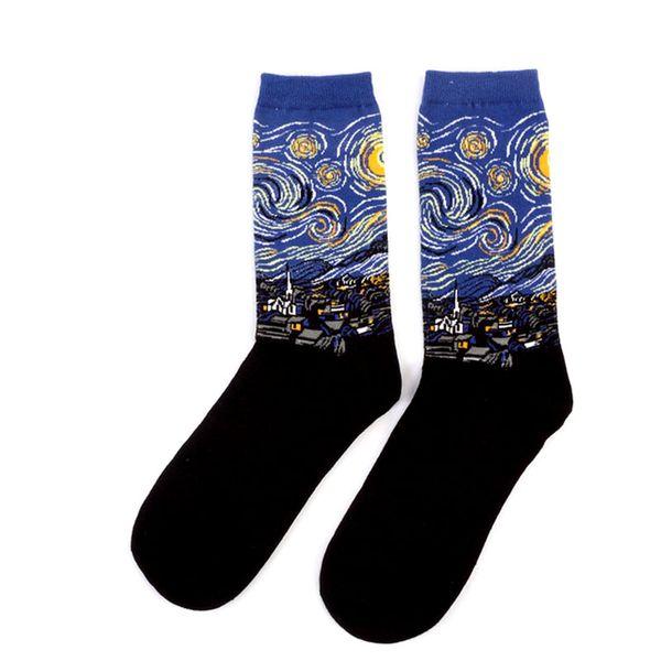 Autumn Winter Retro Women Personality Art Van Gogh Mural World Famous Oil Painting Series Male Socks Funny Happy