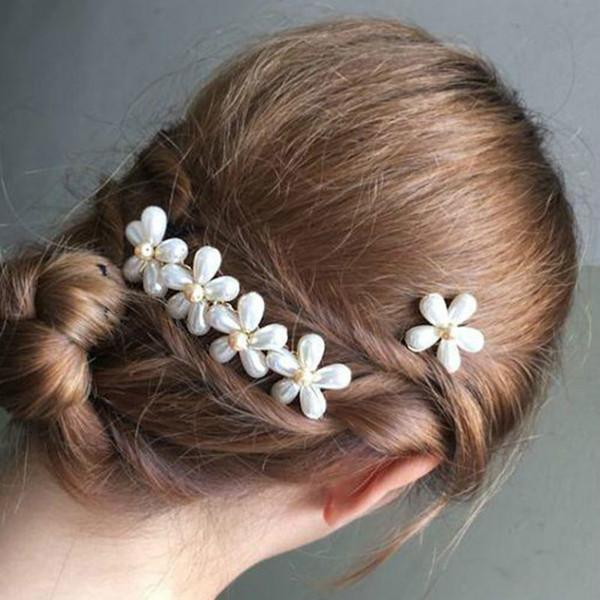 Joyería del banquete de boda del pelo flor de la perla janpan simulado pernos Barrettes oro de Corea Hairgrips regalos cabello accesorios para pernos