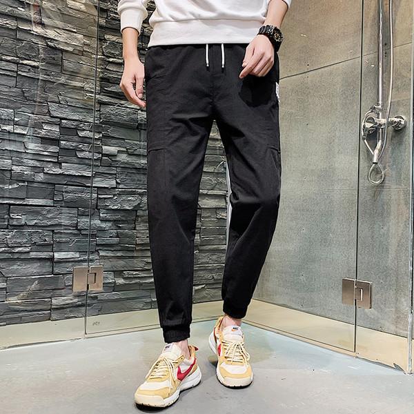 Однотонные брюки-карго для мужчин с несколькими карманами Уличная одежда Брюки мужские Брюки с эластичной талией Дышащие спортивные штаны Harajuku Jogger