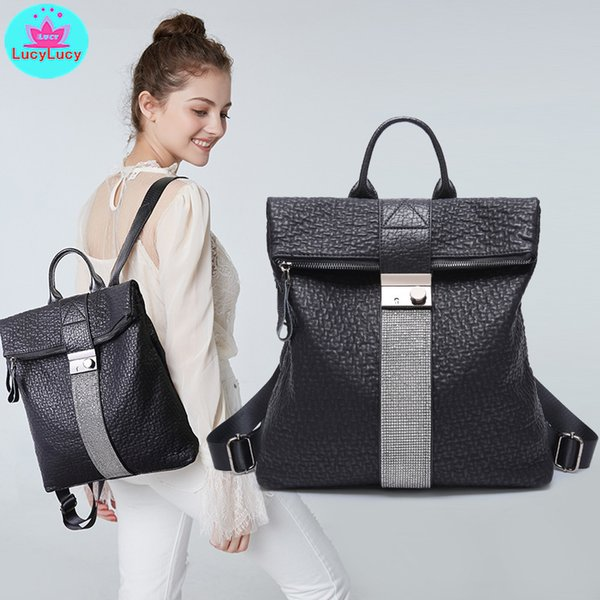 2019 new European and American trendy soft leather inlaid drill large-capacity ladies backpack Baituan Travel Bag Shoulder Bag