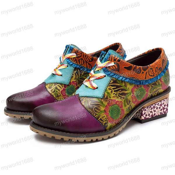Gerçek Deri Kadın pompaları 2019 Vintage Bohemian Bilek Boots Kadın Ayakkabı Düşük Topuk Bayan Ayakkabı Kadın Çizme Fermuar