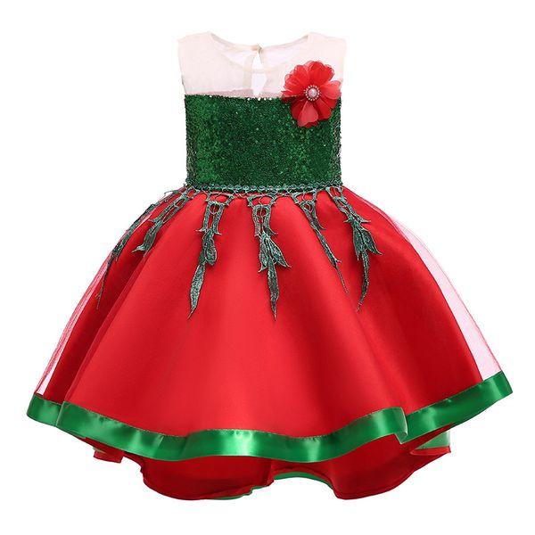 Xmas Baby girls Flower dress Children Christmas princess dresses fashion Boutique Ball Gown Kids Clothing 3 colors B11