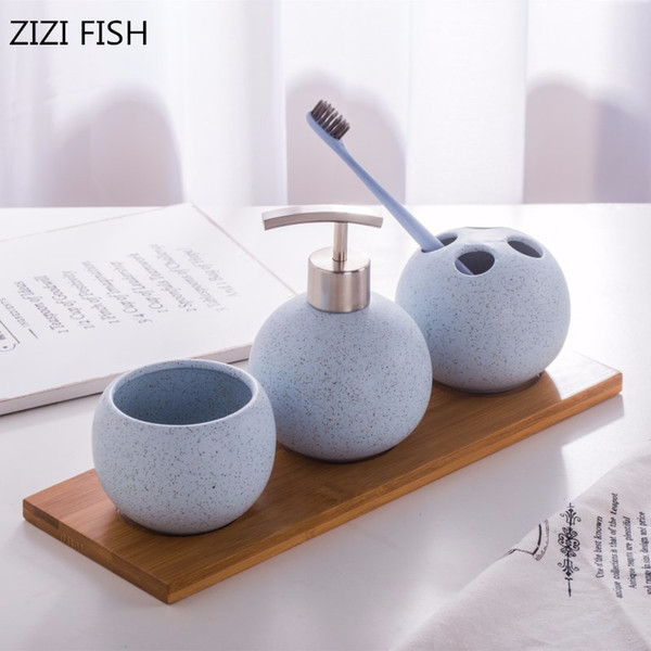 Four-piece Set China Ceramics Bathroom Accessories Set Soap Dispenser/toothbrush Holder/tumbler/tray Bathroom Products Y19061804