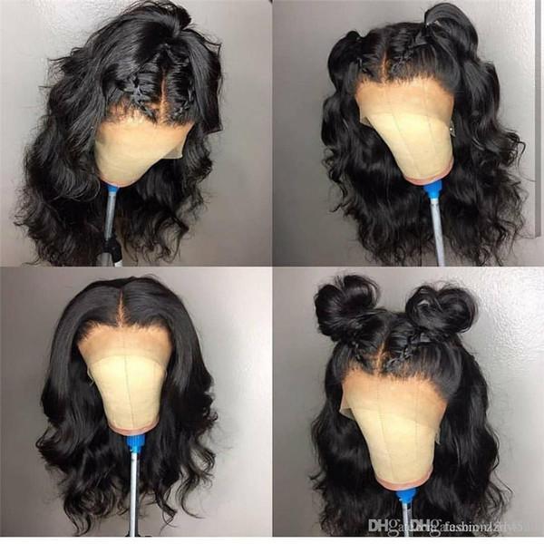 Parte profunda del cuerpo Onda del cuerpo Pelucas de cabello humano 13 * 6 Pelucas delanteras con cordones Remy indio Pre rayita con el pelo del bebé Pelucas de encaje 24 inces