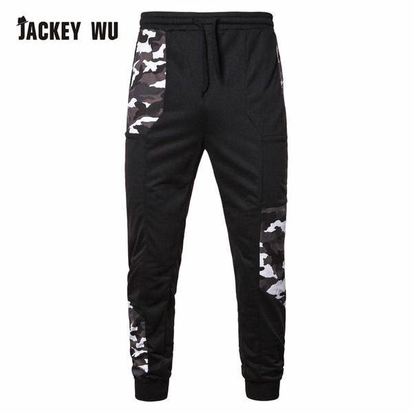 JACKEYWU Marque Pantalons de survêtement Hommes 2019 Patch De Mode Camouflage Joggeurs Casual Sportswear Taille Élastique Hip Hop Streetwear Coton