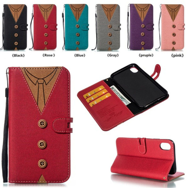 T Shirt Wallet Case Fabric Kickstand Flip Cover per Uomo Donna Bowknot Tie Clothes Card Slot Csae per iPhone X SCA550