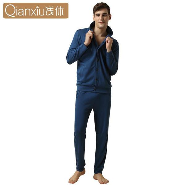 Qianxiu springautumn Frauen Nachtwäsche Sets Casual V-Ausschnitt Paar Pyjamas Sets Baumwolle Strickjacke Langarm Pyjamas Homewear 2017