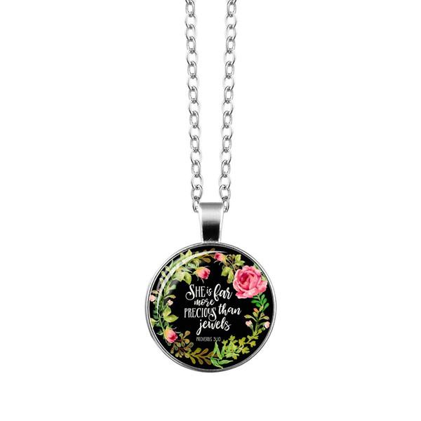Vogue Gümüş Hıristiyan İncil Kolye Takılar İncil Mezmur Cam Çiçek Resim Kolye Kadınlar Ünlü Takı Tırnaklar